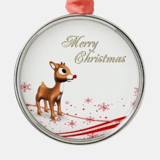 Cute Cartoon Reindeer Round Metal Christmas Ornament
