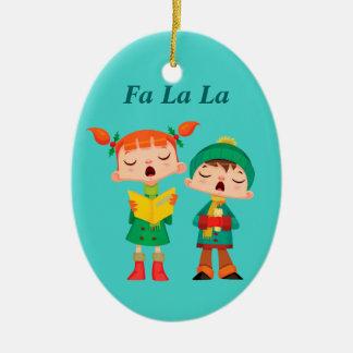 Cute Cartoon Retro Christmas Carolers Christmas Ornament