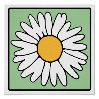 Cute Cartoon Retro Daisy Spring Garden Flower Poster