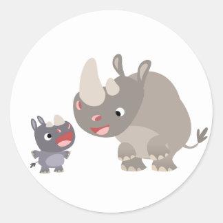 Cute Cartoon Rhino Baby & Big Rhino Sticker