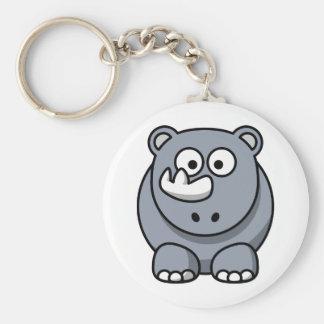 Cute Cartoon Rhino Key Ring