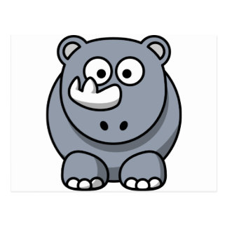 Cute Cartoon Rhino Postcard