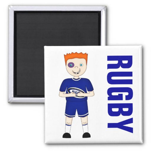 Cute Cartoon Rugby or Rugger Player in Blue Kit Refrigerator Magnets