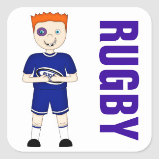 Cute Cartoon Rugby or Rugger Player in Blue Kit Square Stickers