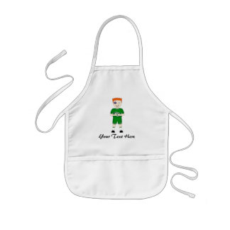 Cute Cartoon Rugby or Rugger Player in Green Kit Kids Apron