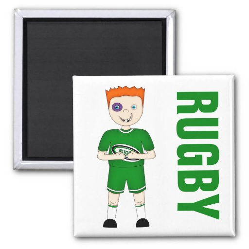 Cute Cartoon Rugby or Rugger Player in Green Kit Refrigerator Magnets