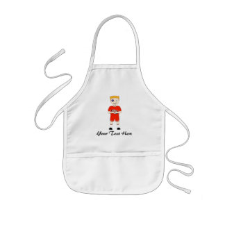 Cute Cartoon Rugby or Rugger Player in Red Kit Kids Apron