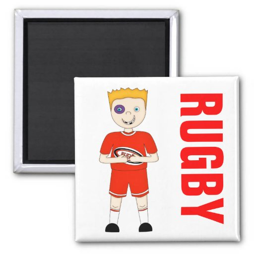 Cute Cartoon Rugby or Rugger Player in Red Kit Refrigerator Magnets