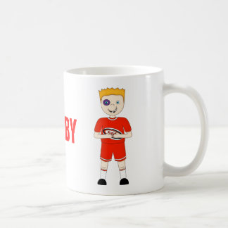 Cute Cartoon Rugby or Rugger Player in Red Kit Basic White Mug