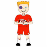 Cute Cartoon Rugby or Rugger Player in Red Kit Photo Sculpture