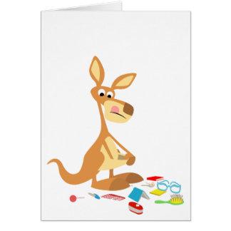 Cute Cartoon Rummaging Kangaroo Greeting Card