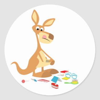 Cute Cartoon Rummaging Kangaroo Sticker