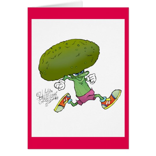 Cute cartoon running Broccoli, on a greeting card.