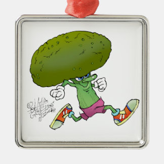 Cute cartoon running Broccoli. Silver-Colored Square Decoration