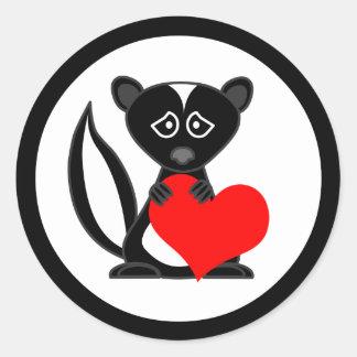 Cute Cartoon Sad Skunk Holding Heart Stickers