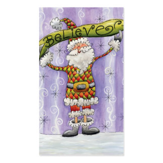 Cute Cartoon Santa Claus, Believe, Merry Christmas Pack Of Standard Business Cards
