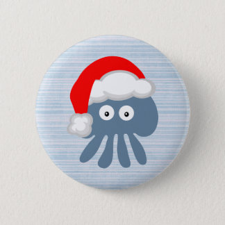 Cute Cartoon Santa Jellyfish 6 Cm Round Badge