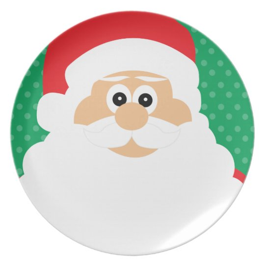 Cute Cartoon Santa Plate