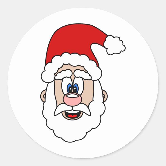 Cute Cartoon Santa Round Sticker