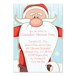 Cute Cartoon Santa with Long Beard Christmas Party Card