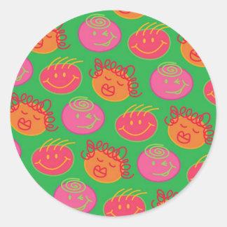 Cute Cartoon Scribbles Fun Silly Bubblegum Heads Classic Round Sticker