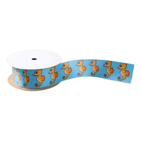 cute cartoon sea horse satin ribbon
