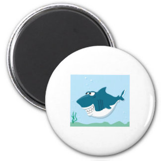cute cartoon shark 6 cm round magnet