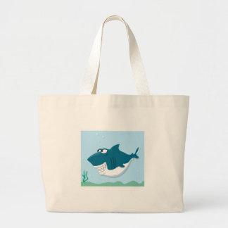 cute cartoon shark jumbo tote bag