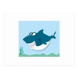cute cartoon shark postcard