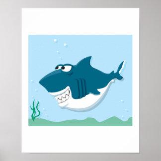 cute cartoon shark poster
