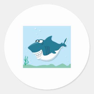 cute cartoon shark round sticker