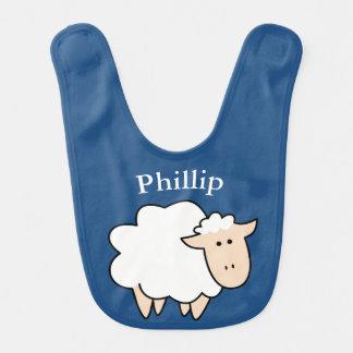 Cute Cartoon Sheep & Baby's Name Baby Bibs