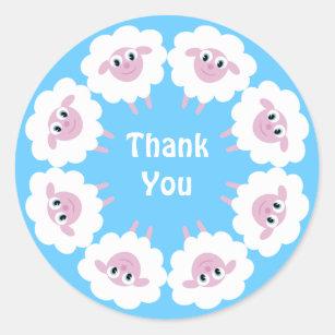 Cute Cartoon Sheep Blue Custom Thank You Classic Round Sticker