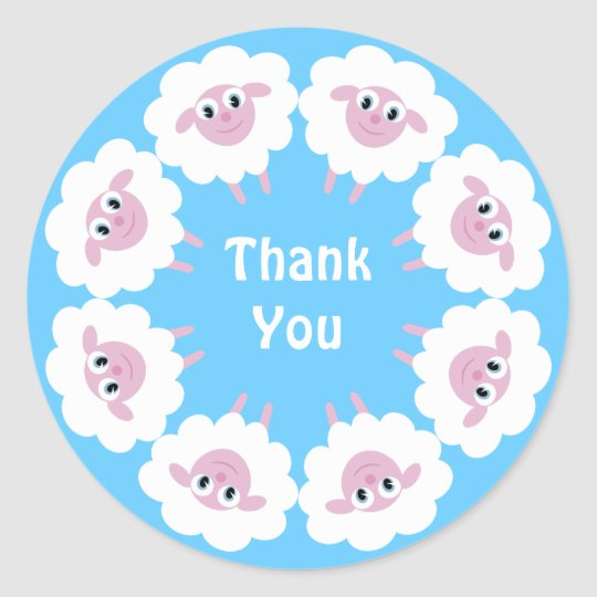 Cute Cartoon Sheep Blue Custom Thank You Classic