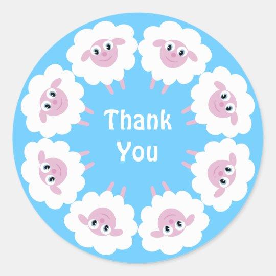 Cute Cartoon Sheep Blue Custom Thank You Classic