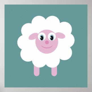 Cute Cartoon Sheep Blue Green Customizable Poster