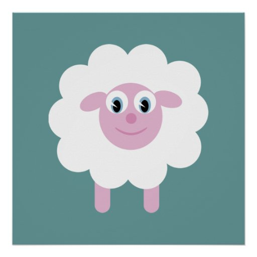Cute Cartoon Sheep Blue Green Customizable Posters