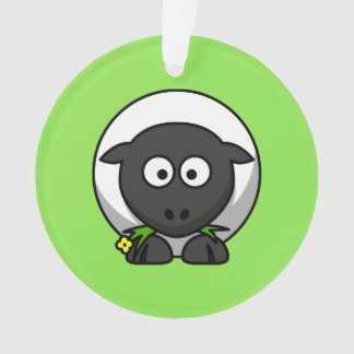 Cute Cartoon Sheep With Green Background