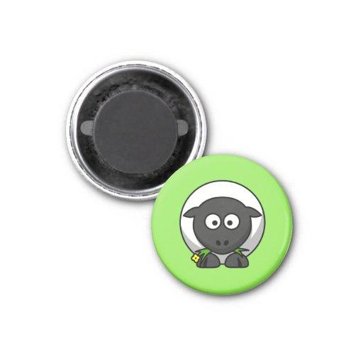 Cute Cartoon Sheep With Green Background Fridge Magnets