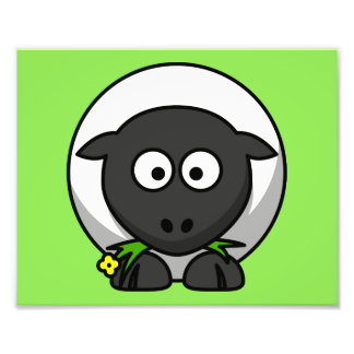 Cute Cartoon Sheep With Green Background Photographic Print