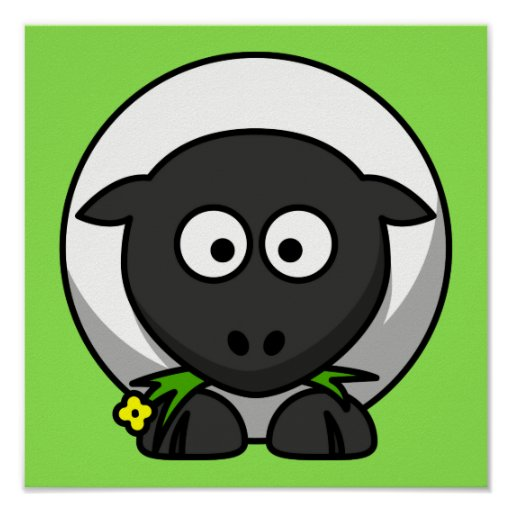 Cute Cartoon Sheep With Green Background Posters