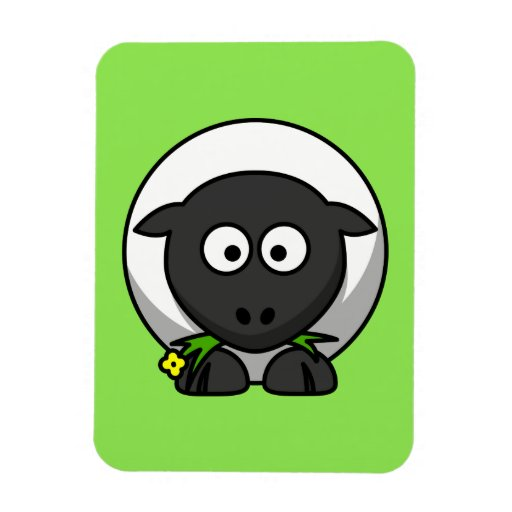 Cute Cartoon Sheep With Green Background Rectangle Magnet