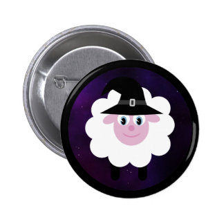 Cute Cartoon Sheep with Halloween Witches Hat Pin