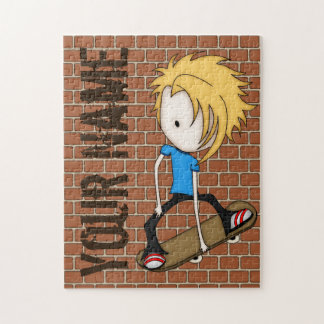 Cute Cartoon Skateboarder Teen Boy Blonde Hair Jigsaw Puzzle