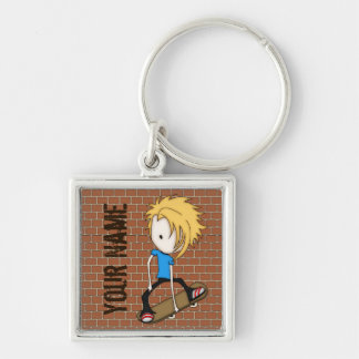 Cute Cartoon Skateboarder Teen Boy Blonde Hair Key Ring