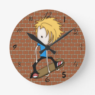 Cute Cartoon Skateboarder Teen Boy Blonde Hair Round Clock