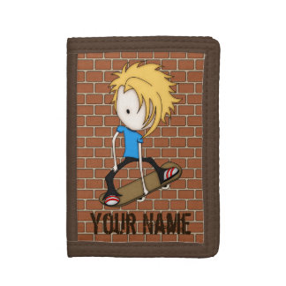 Cute Cartoon Skateboarder Teen Boy Blonde Hair Trifold Wallet