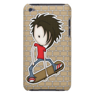 Cute Cartoon Skateboarder Teenage Boy iPod Case-Mate Cases