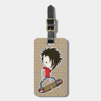 Cute Cartoon Skateboarder Teenage Boy Luggage Tag