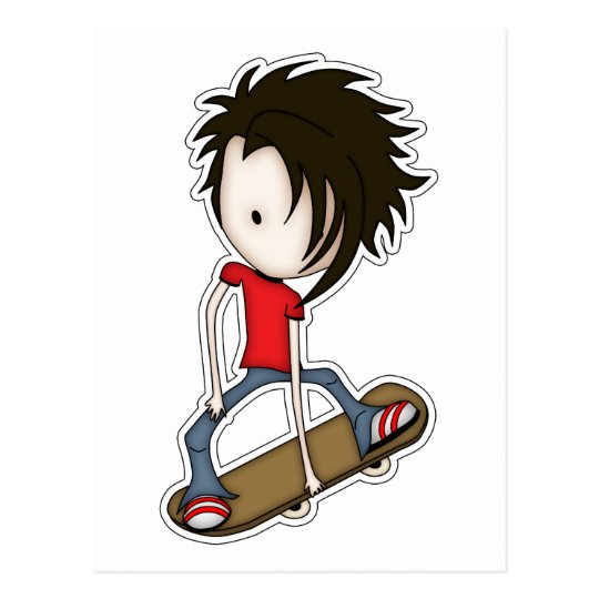 Cute Cartoon Skateboarder Teenage Boy Postcard